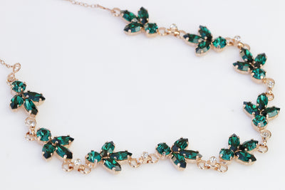 EMERALD NECKLACE, Bridal Emerald Necklace, Dark Green Cluster Necklace, Swarovski Necklace, Leaves Green Necklace, Wedding Emerald Jewelry