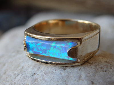 Blue Opal Band Ring, Gold filled Opal Ring, Blue Rectangle Gemstone Ring, Opal Ring, Women's Signet Ring, Gold Opal Band Ring. Modern ring