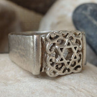 Jewish Star Signet Ring. Sterling Silver Star Of David Ring. Wide Magen David Ring. Silver Star Of David Signet Ring. Filigree Jewish Ring
