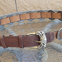 Leather Belt. Brown Leather Belt. Buckle Leather Belt For Women Leather Belt. Circle Metal Ornamented Belt. Womens Leather Belt. Boho Belt