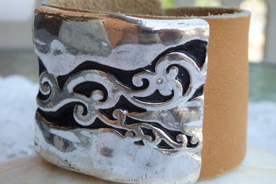 Leather Bracelet. Brown Cuff Leather Bracelet. Chunky Cuff Men Leather Bracelet. Women Leather Beacelet. Silver And Leather Unique Jewelry.