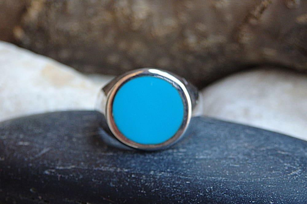 Light Blue Rounded Signet Ring. 925 Sterling Silver Signet Ring. Round Enamel Ring. Enamel Jewelry. Womens Mens Signet Ring. Unisex Ring