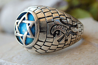 Lion Ring. Faith Ring. Statement Ring. Religious Ring. Zodiac Ring. Turquoise Ring. Kabbalah Ring. Silver Star Of David Ring. Jewish Jewelry