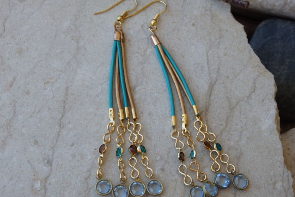 Long Leather Swarovski Dangle Earrings
