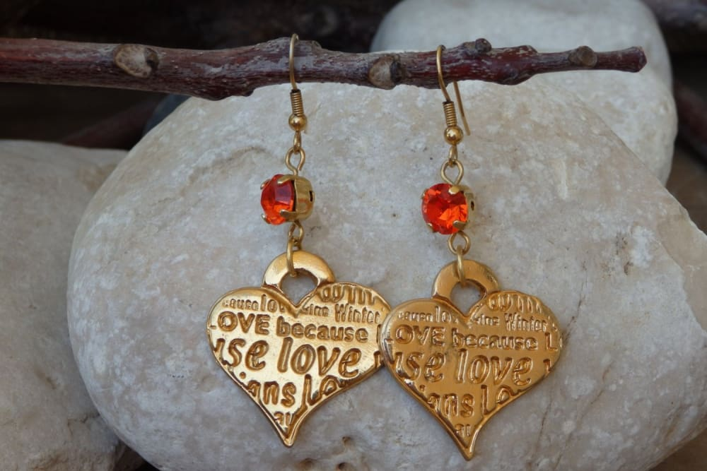 Love Earrings. Swarovski Orange Earrings. Heart Shaped Jewelry. Mom Jewelry Gift. Mothers Day Gift. Orange Crystal Dangle Earrings For Wife