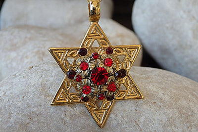 Magen David Charm Necklace. Red Swarovski Star Of David Necklace. Star Of David Pendant. Gold Judaica Necklace. Red Stones On David Star