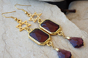 Magen David Earrings. Star Of David Earrings. Jewish Gold Chandelier Earrings. Purple Swarovski Earrings. Jewish Jewelry. Jewish Earrings