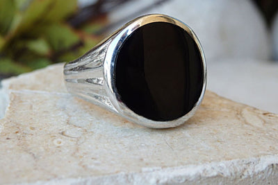 Men Signet Ring. Sterling Silver Ring. Enamel On Silver. Enamel Jewelry. Circle Ring. Black Silver Ring. Classic Rings For Him Her. Unisex