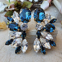 Navy Blue Wedding Earrings. Midnight Blue Jewelry. Feminine Earrings. Blue Bridal Earrings. Sparkling Earrings.blue White Swarovski Earrings