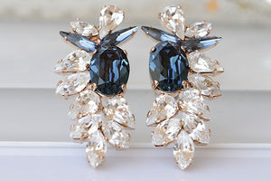 Navy Cluster Earrings