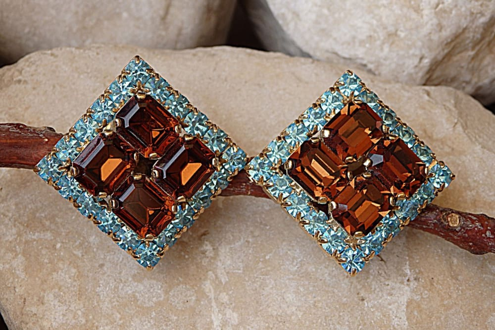 Non Pierced Swarovski Earrings. Clip On Earrings. Big Geometric Stud Clips Earrings. Brown And Blue Crystal Earrings. Halo Square Earrings