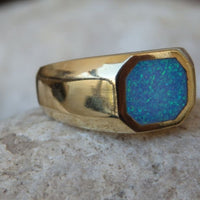 Octagon Opal Signet Ring