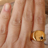 Onyx Signet Ring. Goldfilled Octagon Ring With Black Onyx Gold Signet Ring. Gold Onyx Ring. Black Stone Ring. Onyx Star Signet Gold Ring