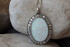 Opal And Swarovski Pave Necklace