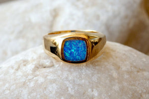 Opal Gold Signet Ring