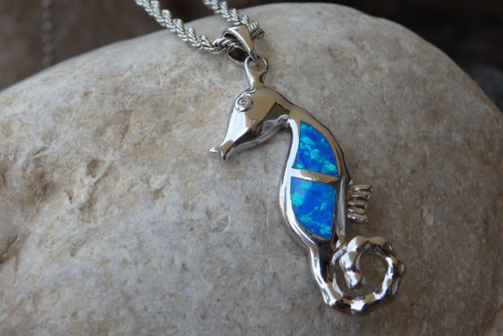 Opal Morse Pendant Necklace. Ocean Blue Opal Necklace. Walrus Opal Jewelry. Sea Animal Necklace. Nautical Necklace. Jewelry Gift For Her