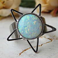 Opal Ring. White Gemstone Ring. Star Ring. Adjustable Ring. October Jewelry. Birthstones Ring. Unique Ring For Her.all Sizes Ring. Open Ring