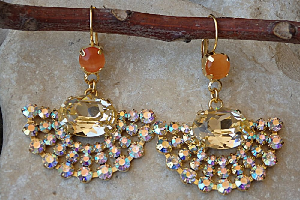 Orange Champagne Fan Earrings