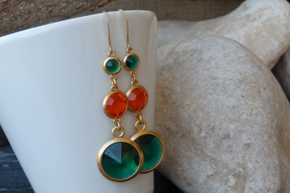 Orange Green Swarovski Drop Earrings. Around Dangle Earrings. Long Chandelier Shiny Earrings. Tangerine Grass Womens Jewelry. Gift For Her.