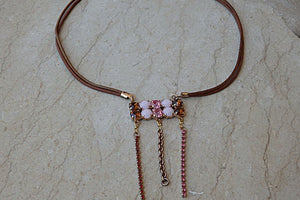 Pink Swarovski Bib Necklace