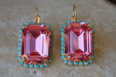 Pink Turquoise Drop Earrings
