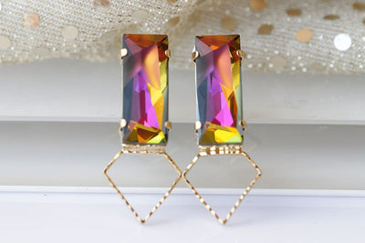 Pink Yellow Earrings