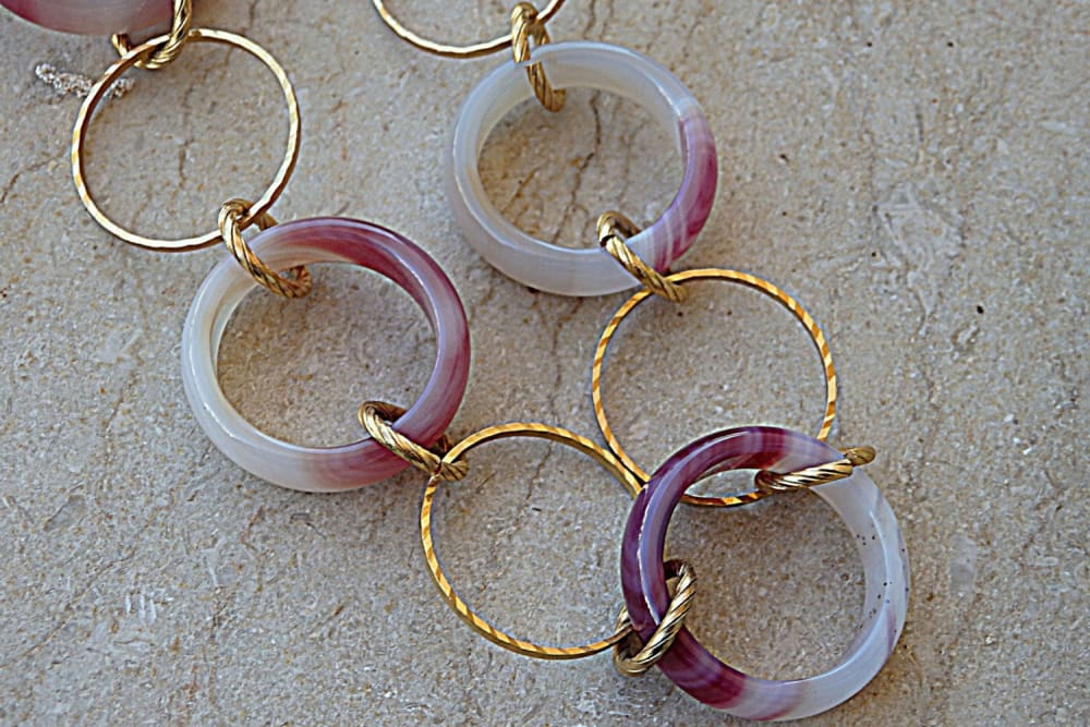 Purple And White Agate Necklace. Agate Hoop Necklace. Purple Link Necklace. Gold Or Silver Gemstone Chain Necklace. Long Circles Necklace