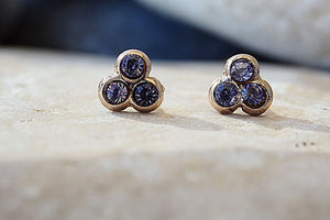 Purple Swarovski Stud Earrings