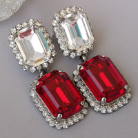 Red Clear Earrings