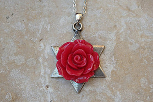 Red Coral Star Of David Necklace