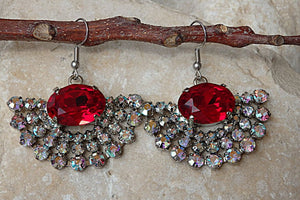 Red Fan Earrings. Fan Rhinestone Earrings. Crystals Swarovski Earrings. Red Evening Earrings. Silver Drop Earrings. Red Gemstone Earrings