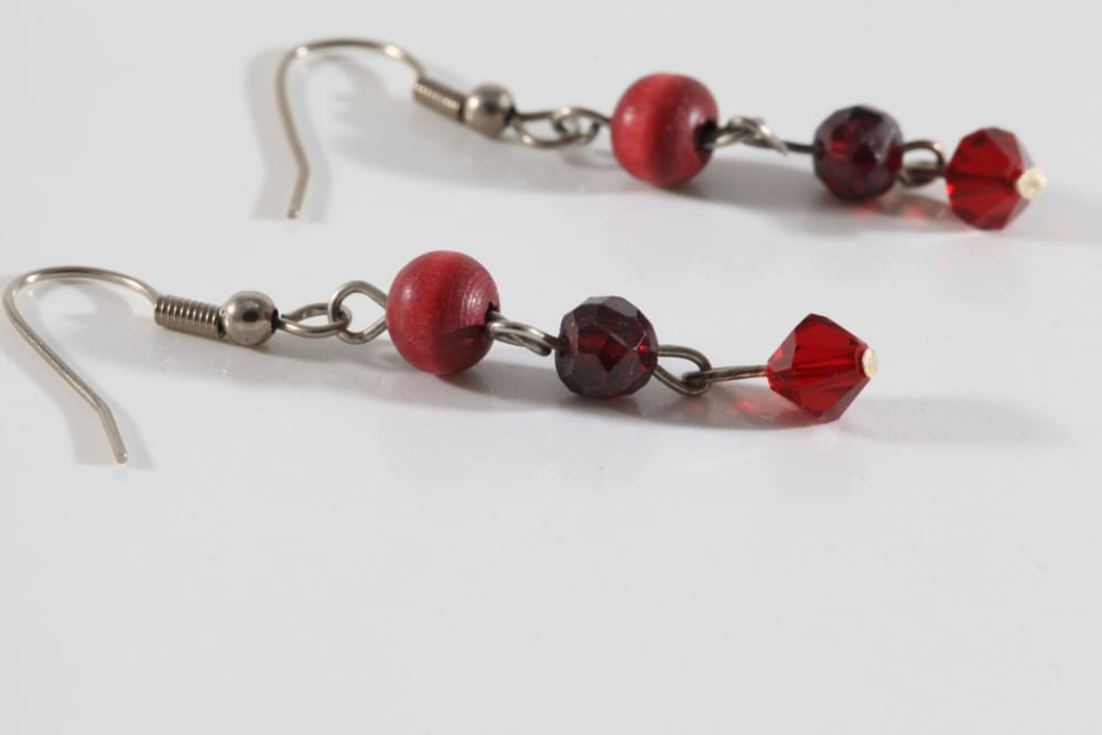 Red Garnet Dangle Earrings. Beaded Wood Earrings. Ruby Crystal Swarovski. January Birthstone Earrings. Wood Jewelry.everyday Jewelry For Her