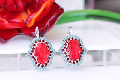 Red Hamsa Earrings