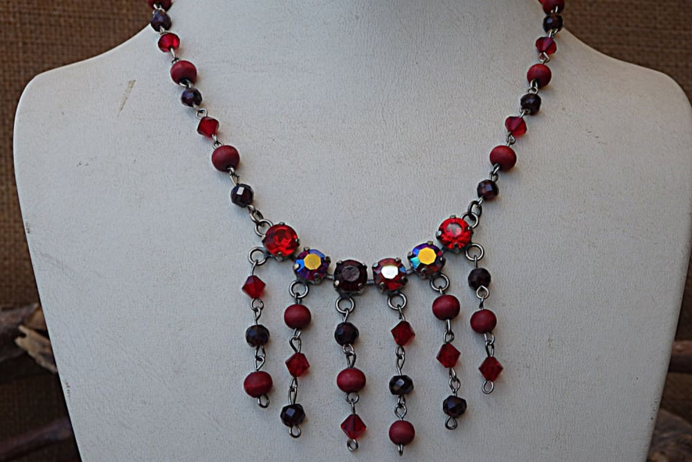 Red Necklace. Beaded Wood Garnet Swarovski Necklace. January Birthstone Jewelry. Wooden Jewelry. Mixed Beads Necklace. Jewelry Set For Wife.