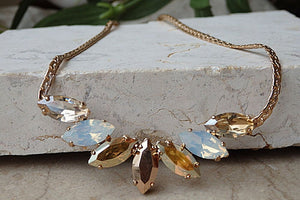 Rose Gold Necklace. Champagne Swarovski Estate Necklace