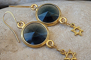 Round Swarovski With Star Of David Earrings. Blue Crystal Drop Earrings. Gold Plated Jewish Jewelry. Swarovski Magen David Drop Earrings