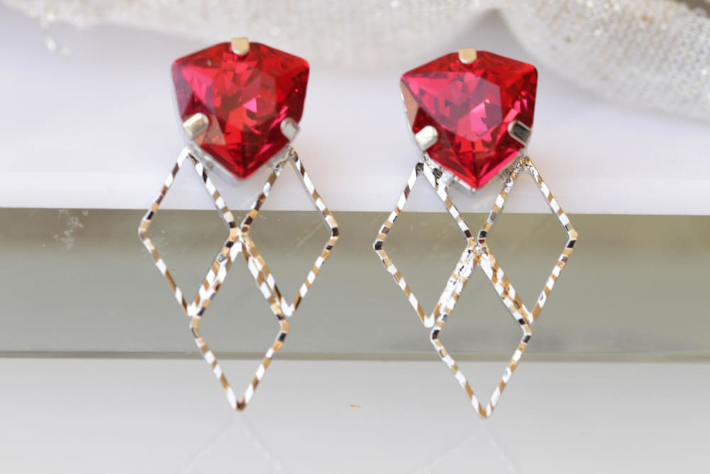 Ruby Bridal Earrings