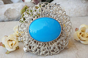 Silver Blue Brooch