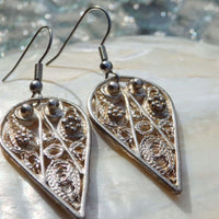 Silver Filigree Earrings Long Silver Earrings . Jewelry Bohemian .jewelry Sterling Silver. Filigree Jewelry. Filigree Earrings.dangle .