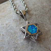 Silver Shield Of David Necklace. Opal Star Of David Pendant Necklace. 925 Sterling Silver Shield Of David Necklace. Two-Sided Star Of David