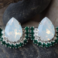 Silver White Green Earrings