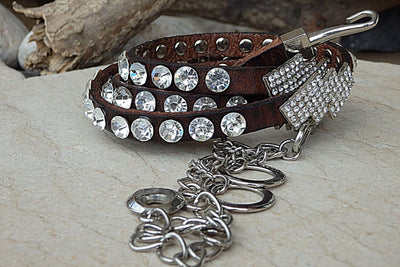 Skinny Leather Belt. Crystal Swarovski Belt. Brown Leather Belt. Thin Leather Belt. Rhinestone Belt. Women Leather Belt. Narrow Leather Belt