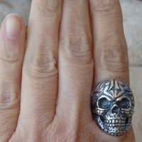 Skull Ring.day Of The Dead. Gothic Ring. Dia De Los Muertos. Death Ring. Skull Jewelry. Statement Ring. Mens Skull Ring.sterling Silver Ring