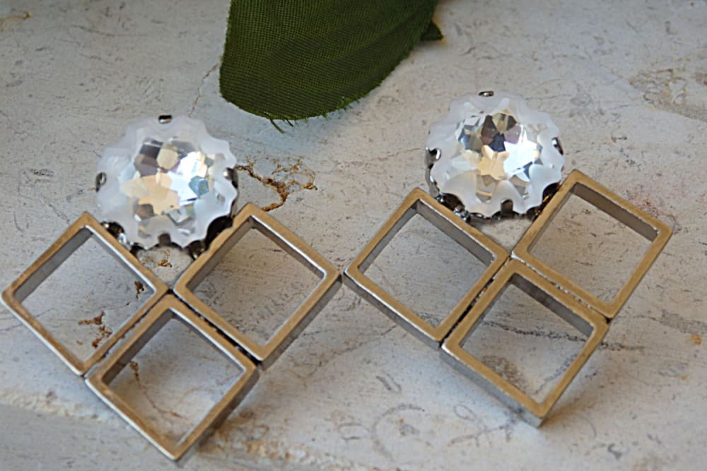 Square Crystal Earrings. Big Earrings. Swarovski Earrings. Wedding Jewelry. Handmade Earrings.art Deco Earrings.statement Jewelry For Brides