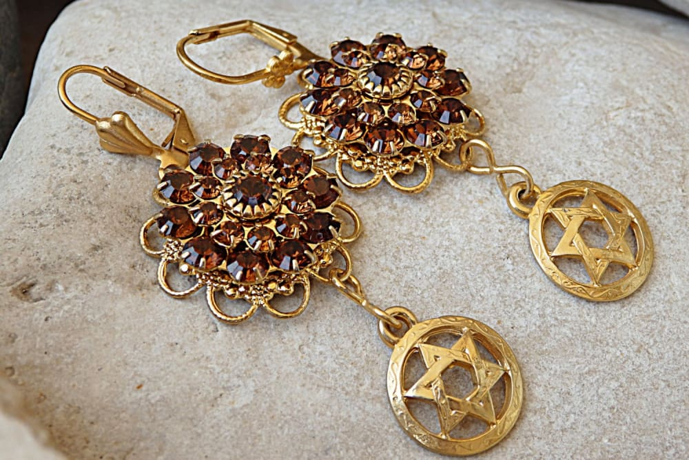 Star Of David Earrings. Swarovski Earrings. Jewish Jewelry. Israeli Jewelry.flower Brown Earrings. Magen David Earrings. Shield Of David
