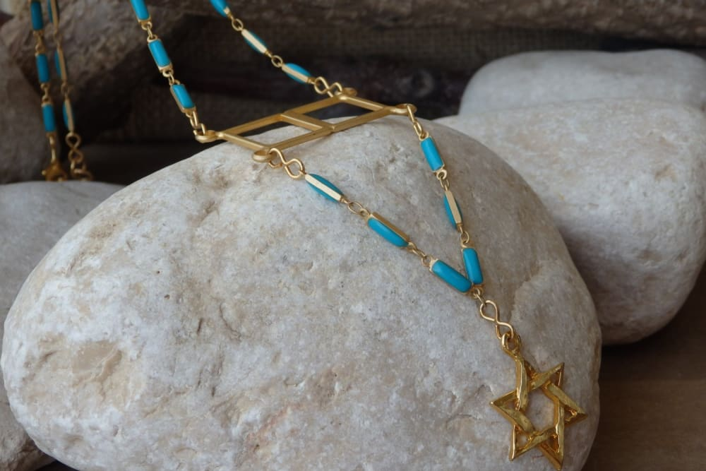 Star Of David Necklace. Blue Enamel Jewish Jewelry. Passover Gift For Women. Judaica Charms Magen David Necklace. Long Gold Necklace.