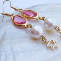 Star Of David Swarovski Earrings. Jewish Charm Dangle Earrings. Star Of David Jewelry. Magen David Long Earrings. Pink And Pearl Earrings