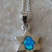 Star Of David With Blue Opal Hamsa Necklace