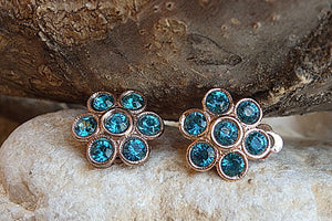 Swarovski Clip Earrings. Rose Gold Clip On Earrings. Flower Clipon Earrings. Small Earrings. Non Pierced Earrings. Bride Turquoise Earrings