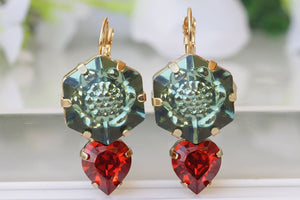 Swarovski Emerald And Red Drop Earrings